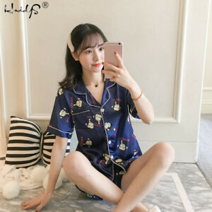 2PCS-Womens-Short-Sleeve-Silk-Satin-Pajama-Sets-Sleepwear-Printing-Homewear-Pj
