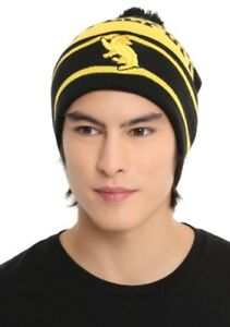 ad5d787e7f5f2 Image is loading Harry-Potter-Hufflepuff-Embroidered-Badger-Striped-Pom- Beanie-