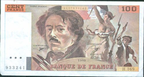 P 154 FRANCE 100 FRANCS 1990 VF-XF CONDITION.