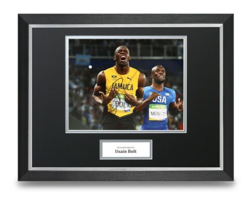 Usain Bolt Signed 16x12 Framed Photo Display Olympic 100m Autograph Memorabilia