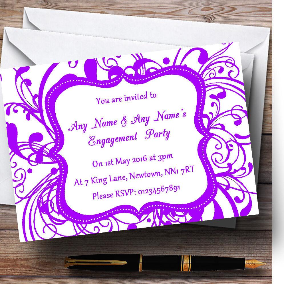 blancoo & púrpura remolino Deco Personalizado Fiesta de Compromiso Invitaciones
