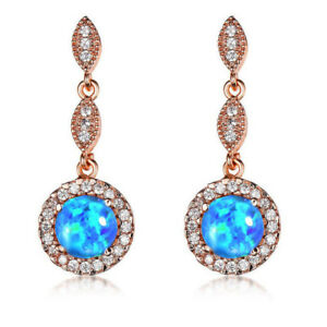 New-Year-Gift-Blue-Fire-Opal-White-Topaz-Rose-Gold-Plated-Stud-Hook-Earrings