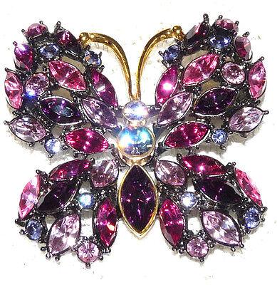 Nice JOAN RIVERS Pink-Purple Rhinestone Butterfly Brooch/Pin  CC18*