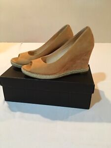 Womens Cole Haan Air Jocelyn OT Wedge Sandals Tan Beige