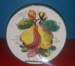 Piatto-decorativo-Caltagirone-vintage-ceramica-da-muro-frutti-pere