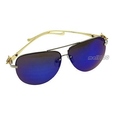 Half-Rim Metal Frame Sunglasses Driver Eye Sun Glasses Mirrored Designer Fashion