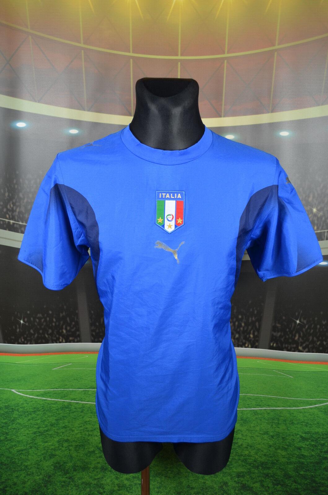 ITALIA Puma Calcio Home 2006 Shirt M in jersey Top ITALIA MAGLIA TRIKOT BLU