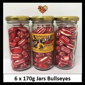 ROCK-CANDY-BULLSEYES-170G-X-6-JARS-1KG-CHRISTMAS-RED-amp-WHITE-LOLLIES-XMAS