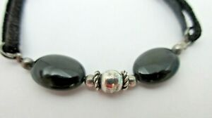 Onyx-Sterling-Silver-Black-Leather-Cord-BRACELET-925-7-5-Inches