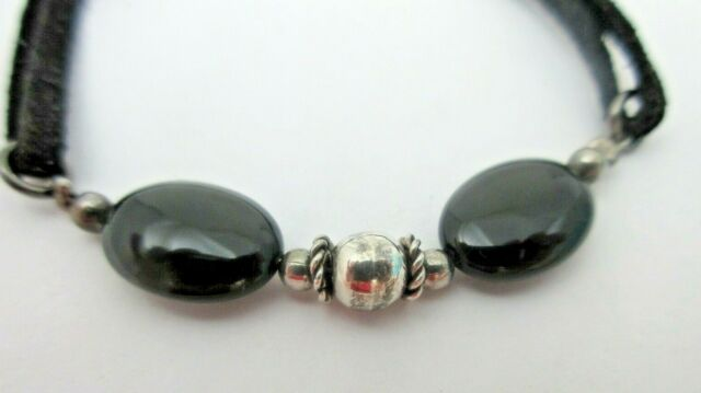 Onyx Sterling Silver Black Leather Cord BRACELET 925 7.5 Inches