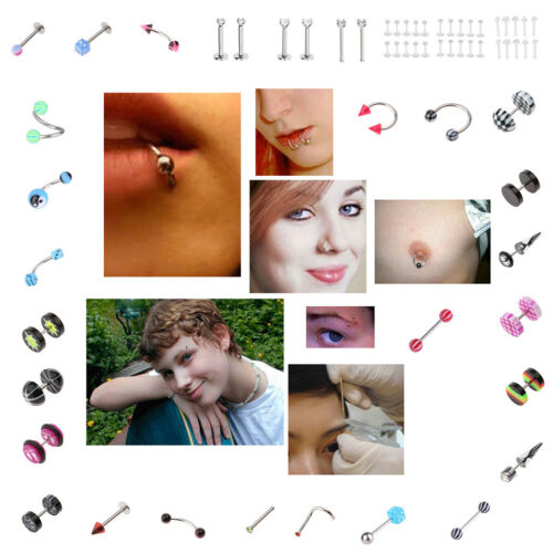 20 Barbell Curved Ear Eyebrow Rings Bars Tragus Body Piercing Accessory