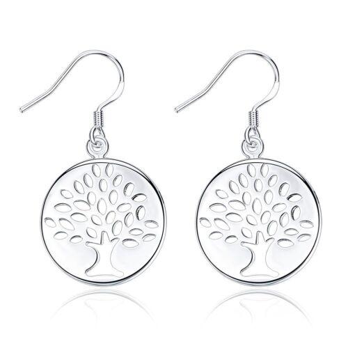 Fashion 925 Sterling Argent Massif Bijoux Tree Dangle Boucles d/'oreilles pour femmes E827