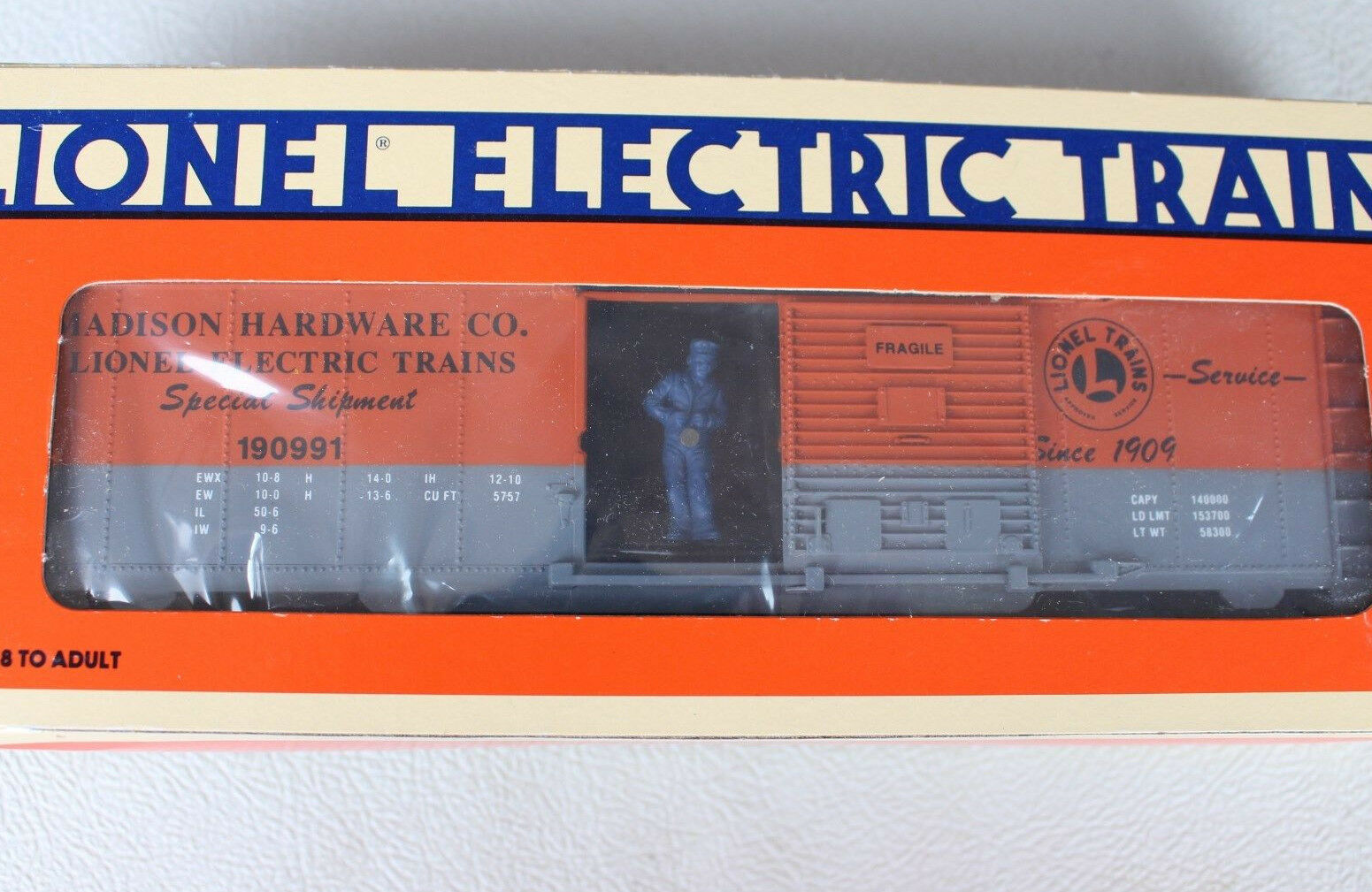 1991 Lionel 6-19816 Madison Hardware Operating Box Car L2824