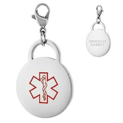 BFS1513 Penicillin Allergy Stainless Steel Charms Medical Caduceus
