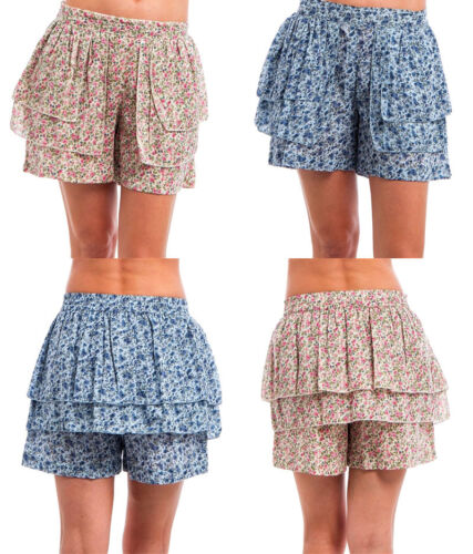 New Blue Pink Shorts skorts Women Floral Cotton Hot Stretch Casual S M L XL