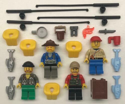 figures city outdoorsman hiker fishing rod 4 Lego Male Fishermen Minifigs Lot