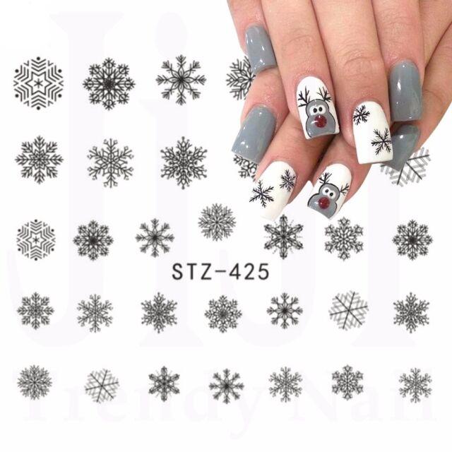 Nail Art Water Decals Stickers Christmas Grey Black Snowflakes Gel
