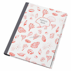 Seashells-A5-Hardback-Address-Book-A-Z-Contact-Spiral-Lined-Nautical-Notebook