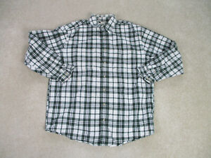 Eddie-Bauer-Button-Up-Shirt-Adult-Large-Green-White-Long-Sleeve-Casual-Mens