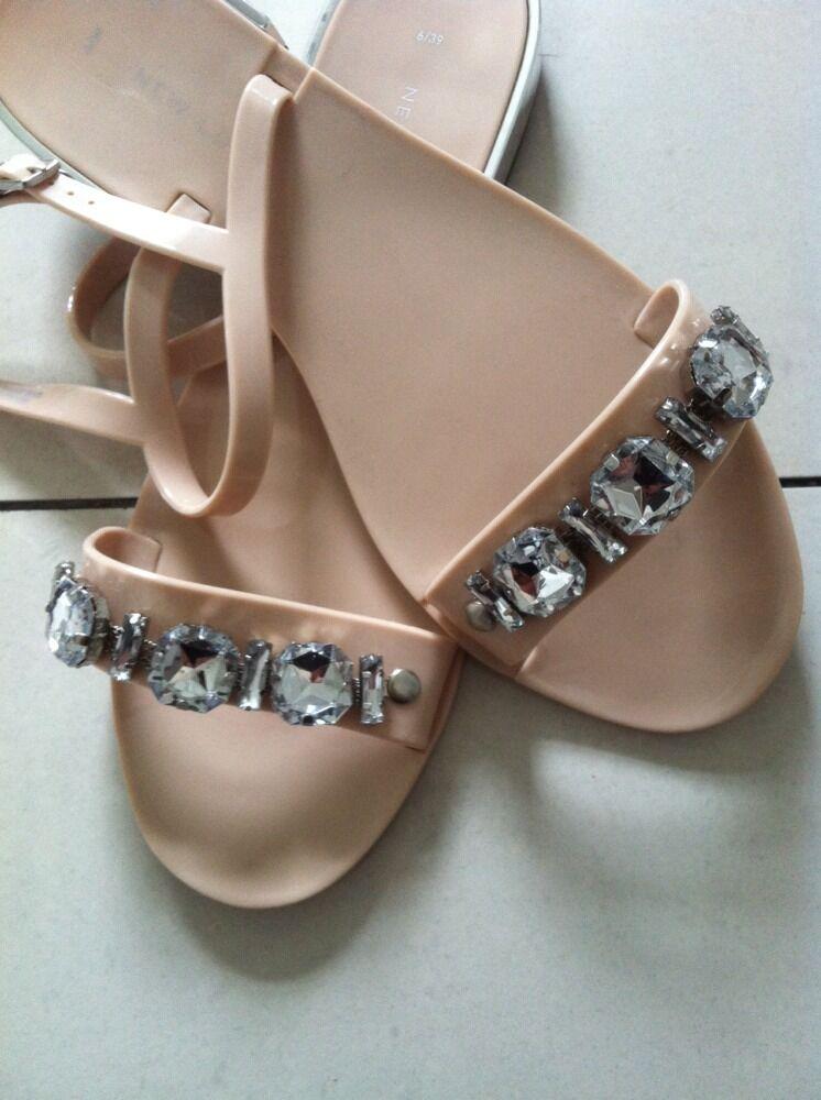 BNWOTS Ladies Jelly Sandals New Look Nude Size Diamonds Strap Contrast Heel Size Nude 6 5fb0ce
