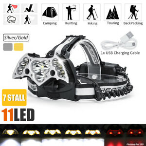 150000LM-11x-T6-LED-Headlamp-Headlight-Rechargeable-SOS-USB-Torch-Lamp-2x-18650