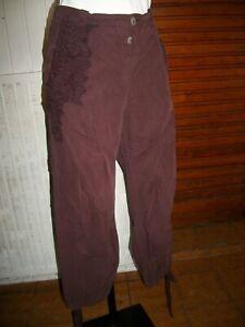 Pantalon-court-Pantacourt-lin-cotn-polyester-prune-IKKS-taille-42-15ETPF19