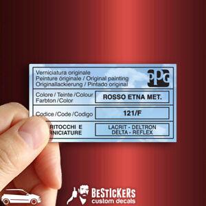 Adesivo etichetta vernice PPG Fiat Punto GT 176 carrozzeria Rosso Etna met 121 F