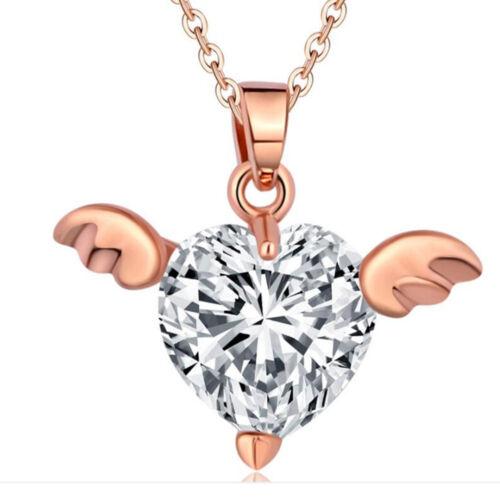 Argent Or Cœur Bijoux Déclaration Femmes Angle collier pendentif chaîne tour de cou