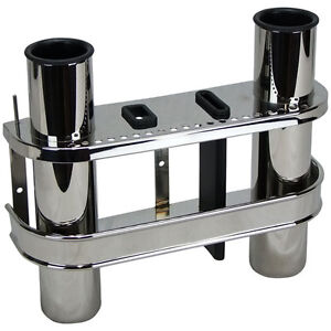 Boat Rod Rack, Double Stainless Steel Rack & Knife Holder for Boat Fishing Rod