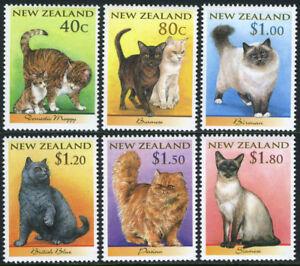 New-Zealand-1484-1489-MNH-Cats-Moggy-Burmese-Birman-British-blue-Persian-1998