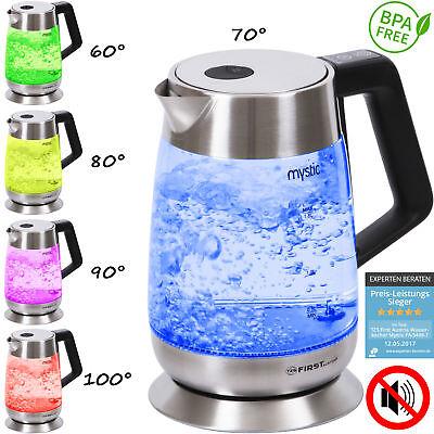1,8 Liter Edelstahl Glas Wasserkocher, Temperaturwahl, Warmhaltefunktion, 2200 W