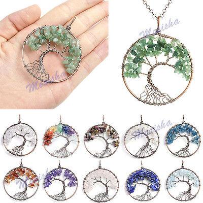Handmade Copper Wire Wrap Natural Gems Quartz Tree of Life Chip Beads Pendant