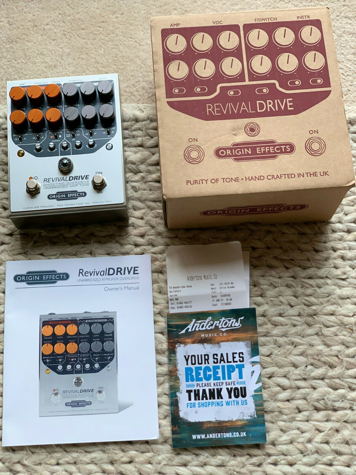 Origin Effects RevivalDRIVE Overdrive Pedal Guitar Ghosting Overdrive Twin Pedal