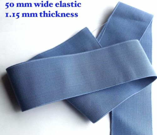 2inch wide Sky Blue STRETCH ELASTIC FLAT ELASTIC WAIST BAND WOVEN 3PC 1M 50mm
