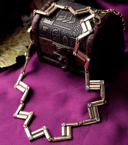 Collier Chaine Art Deco Rectangle Cristal Retro Vintage Original Baroque LL2