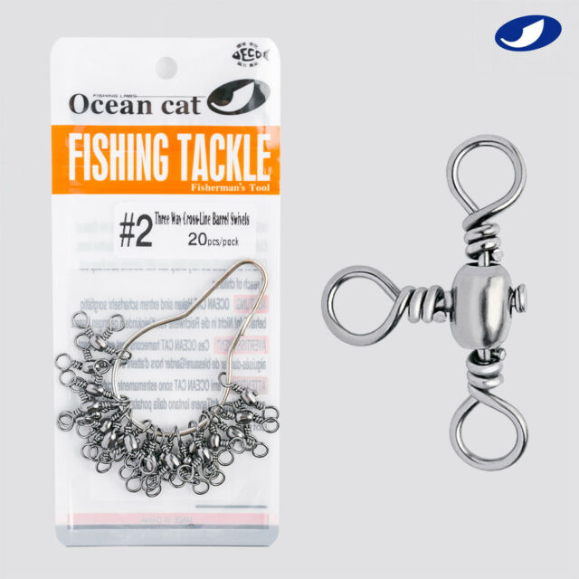 Lot 100Pcs Rolling Barrel Swivels Connector Fishing Snap Lure Solid Ring Tackle