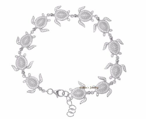 Solid 925 Sterlingsilber Hawaii Meeresschildkröte Link Armband Cz Rhodium 19.1cm