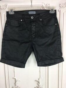 Zara-Man-Mens-30-Cuffed-Shorts-Black-Vegan-Leather-Stretch-Mid-Length-Pockets