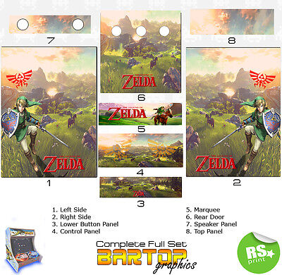 Laminated All Sizes Zelda  Arcade Artwork Marquee Stickers Graphic