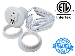 Table-Desktop-Power-Grommet-Outlet-1-US-Plugs-2-USB-Charging-Ports-Adapter-WHT