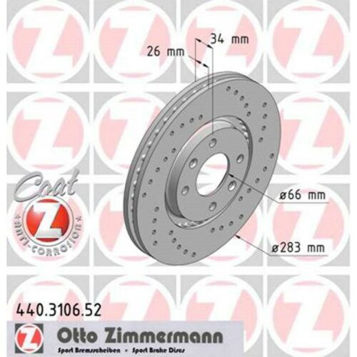 2 Sport-Bremsscheiben Peuegot 207 307 308 107 Partner vorne 283mm