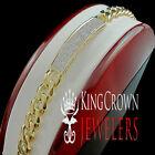 Mens Genuine Diamond Solid 14K Yellow Gold Finish Miami Cuban Link Bracelet 10mm