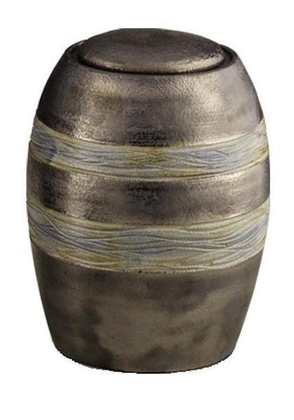 Céramique Crémation Cendres Urne (marron avec texturé gris rayures) made made rayures)   love 06e130