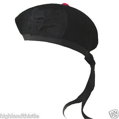 Fiducioso Pianura Nero Kilt Cappello Glengarry Scottish Wear 57cm-