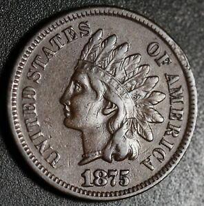 1875-INDIAN-HEAD-CENT-With-LIBERTY-Near-VF-VERY-FINE