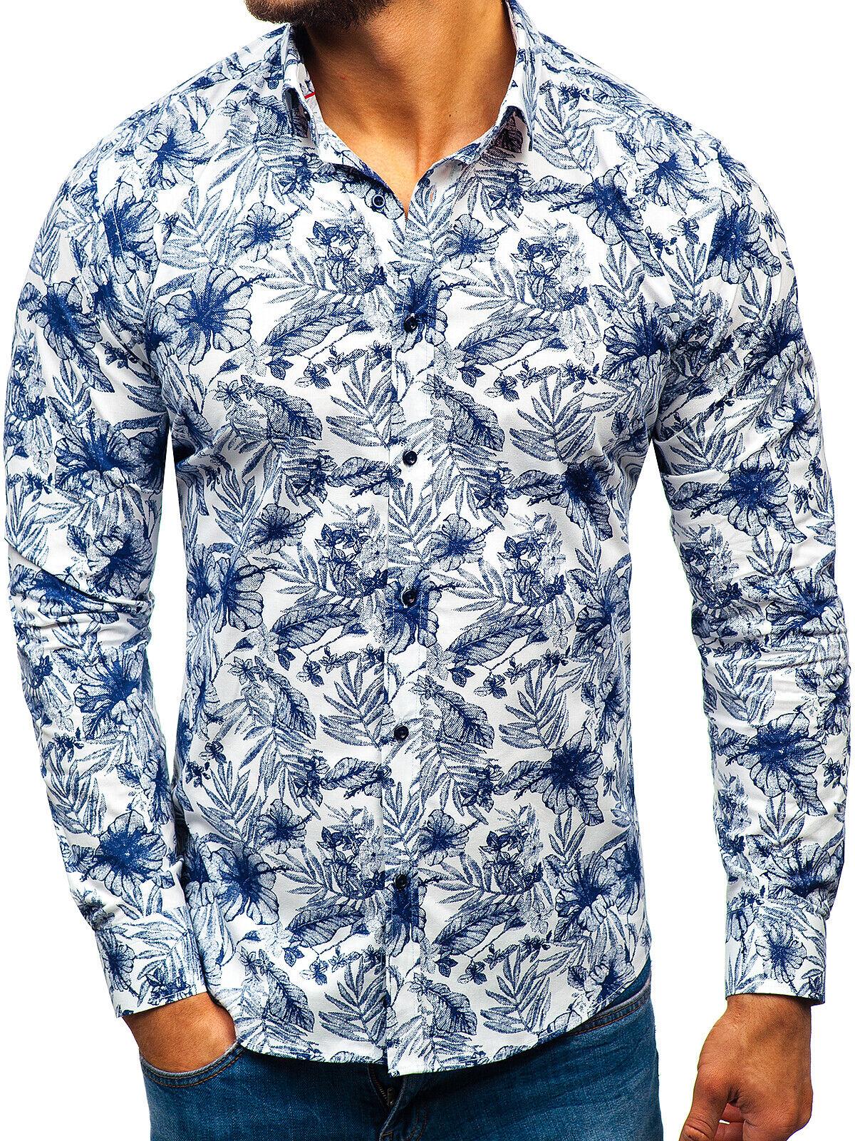 Freizeithemd Shirt Herrenhemd Langarm Hemd Slim Bedruck Herren BOLF 2B2 Classic