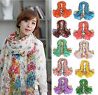 2016 Fashion Long Cotton Voile Floral Shawl Scarf Wrap Stole For Girls/Lady
