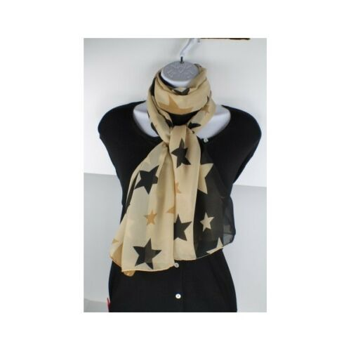 Silk Chiffon Fashion Scarf Only Black Brown and Tan Left Stars Design