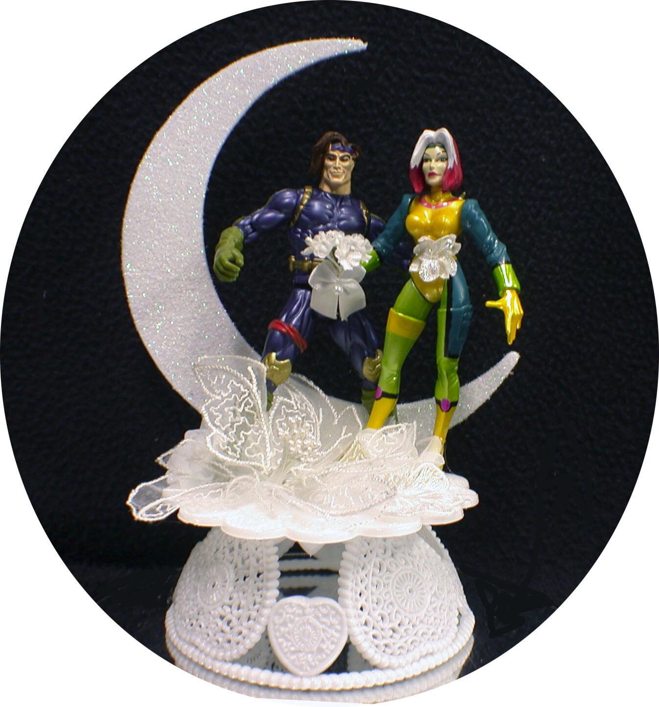 Gambit & Rogue Marvel Comic Wedding Cake Topper Groom funny super hero