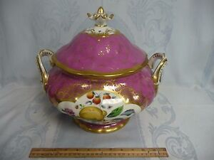 STUNNING-HUGE-OLD-PARIS-PORCELAIN-TUREEN-w-HAND-PAINTED-FRUIT-amp-INSECTS
